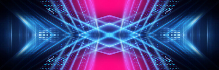 Wall Mural - Dark neon background with lines and rays. Blue and pink neon. Abstract futuristic background. Night scene with neon, light reflection. Neon lines, shapes. Multi-colored glow, blurry lights.
