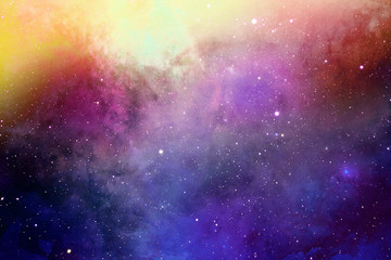 blue and yellow colorful dramatic space with colorful galaxies and stars for background