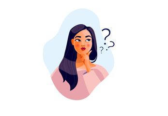 Thinking girl. Beautiful face, doubts, problems, thoughts, emotions. Curious woman questioning, question mark. Vector illustration