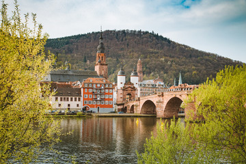 Heidelberg city panorama with Neckar river, Baden-Wurttemberg, Germany