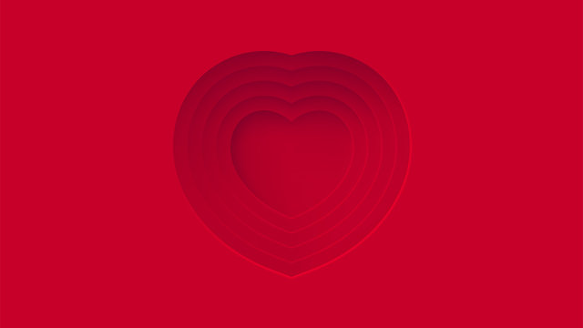 Red hearts abstract center space background