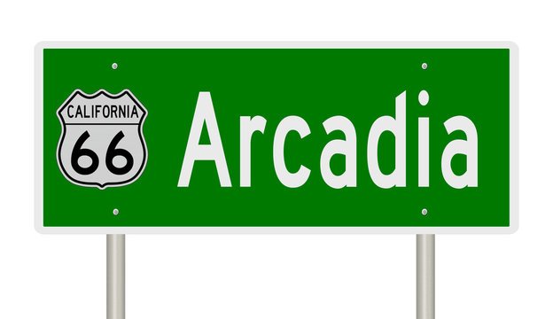 Rendering of a green 3d highway sign for Arcadia California on Route 66