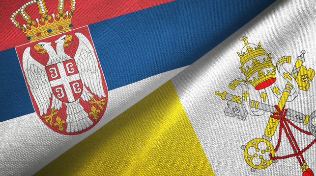 Serbia and Vatican two flags textile cloth, fabric texture