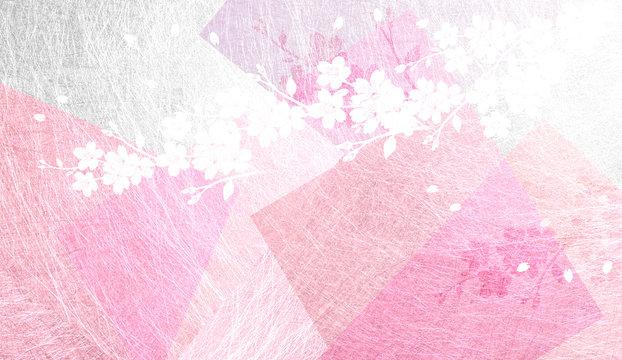 透明感のある和紙を背景にした桜