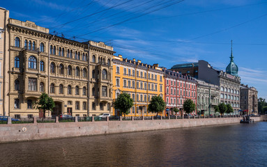 St Petersburg Streetscape - Houses by the Canal, Russia