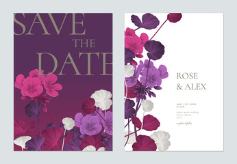Floral wedding invitation card template design, Pelargonium zonale flowers with leaves in purple tones