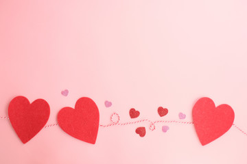 valentine background .pink heart paper flatlay decor for wedding invitation card and love anivesary.