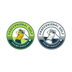 professional golf championship logo badge vintage retro design