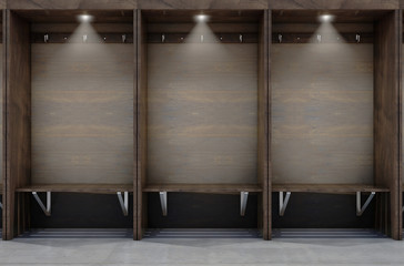 Empty wooden cubicles with a bench and hangers in a sports locker change room - 3D render