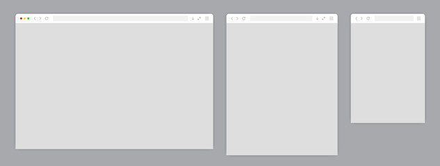 Web browser window white template. Sample frame design Internet page mockup. Blank screen web browser in flat design. Vector illustration