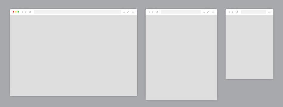 Web browser window white template. Sample frame design Internet page mockup. Blank screen web browser in flat design. Vector illustration