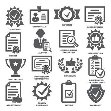 Approvement and accreditation icons set on white background