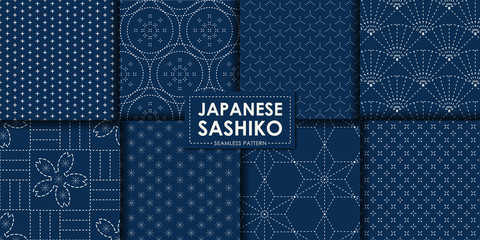 Door stickers Pattern Japanese sashiko seamless pattern vector collection, Decorative wallpaper.
