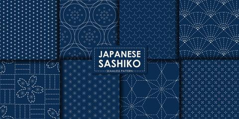 Poster Kunstmatig Japanese sashiko seamless pattern vector collection, Decorative wallpaper.