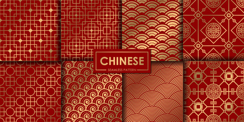 Golden chinese pattern collection, Abstract background, Decorative wallpaper. Fotomurales