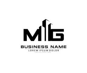 Fototapeta M G MG Initial building logo concept obraz