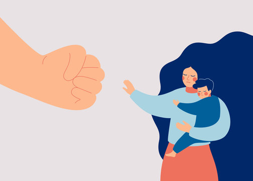 Strong mother protects her child from danger. Stop violence against children and domestic violence. A big fist threatens a woman and her baby. Vector illustration