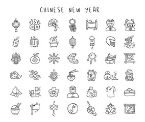 Chinese New Year line hand drawn icon set - black outline handmade icons or signs on traditional chinese holiday topic, lanterns, coins, dragons, flowers, lucky symbols and other decorations - vector