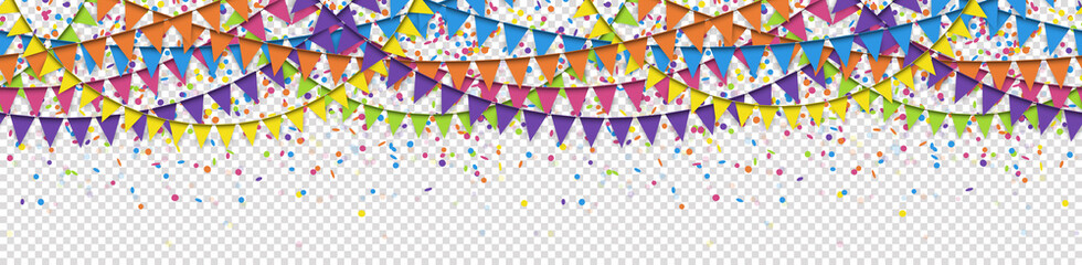 seamless colored confetti and garlands background