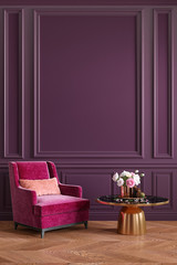 Classic purple, ultraviolet, colorful, interior with armchair, coffee table, flowers and wall moldings. 3d render illustration mockup.