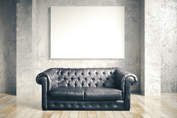 Luxuri black leather sofa and blank poster i
