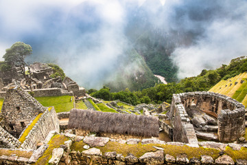 Sticker - Incredible Inca House in Ancient city of Machu Picchu , Peru. South America