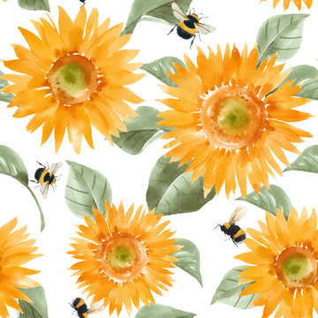 Beautiful vector seamless pattern with watercolor hand drawn sunflowers. Stock summer illustration.