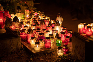 Candle Lights At Night On All Saints Day