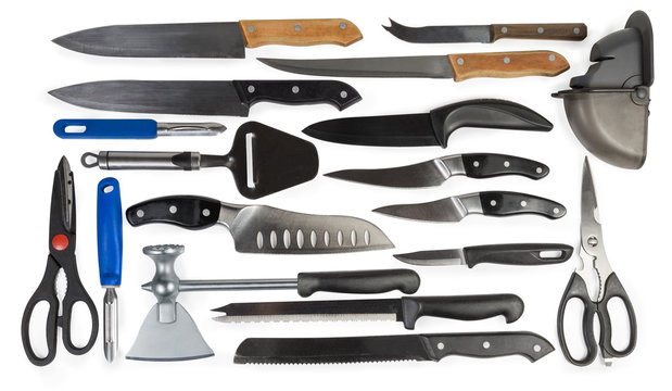 Kitchen knives for different purposes, peelers, ax, scissors, knife sharpener
