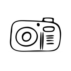 Cketch photo camera icon isolated on whire. Photography kids hand drawind art line. Symbol for website design, web button, mobile app. Sticker. Outline vector stock illustration