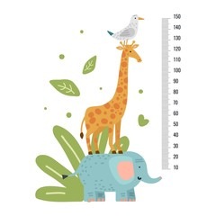 Height measure. Measuring ruler children, growth scale for kindergarten, pediatric or school with giraffe. Vector animals wall sticker. Illustration stadiometer height, giraffe and animal