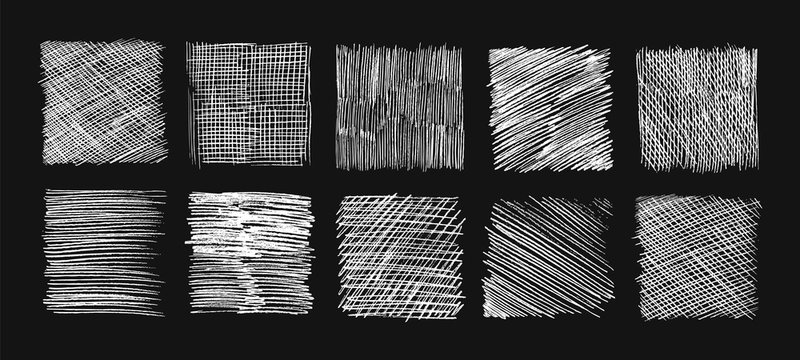Chalk sketch hatching. Doodle textures, pencil sketching lines. Scribbles and scratch, hand drawn grunge vector backgrounds set. Hatching scratch, crosshatch rectangle illustration, graffiti effect