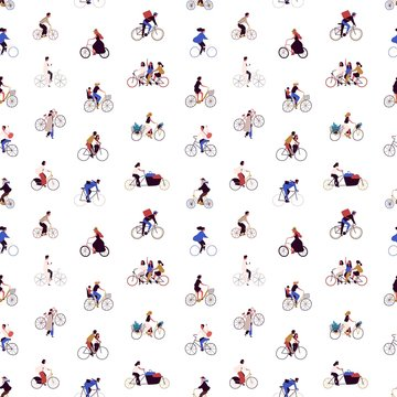 People riding bicycle flat vector seamless pattern. Men and women with urban vehicle background. Cartoon characters riding eco transport texture. Wrapping paper, textile, fabric design.