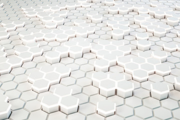 Fotobehang - Creative white glowing hexagonal background.