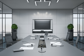 Modern conference interior room with blank plasma