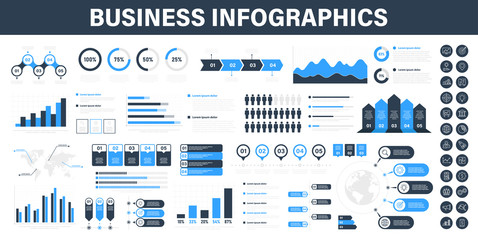 Wall Mural - Big set of business infographics. Business icons. Elements marketing charts, steps, business processes, diagram, graphs, strategy, concept template. Vector illustration.