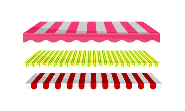 Striped Awnings for Market Stalls Vector Set. Outdoor Marketplace Concept
