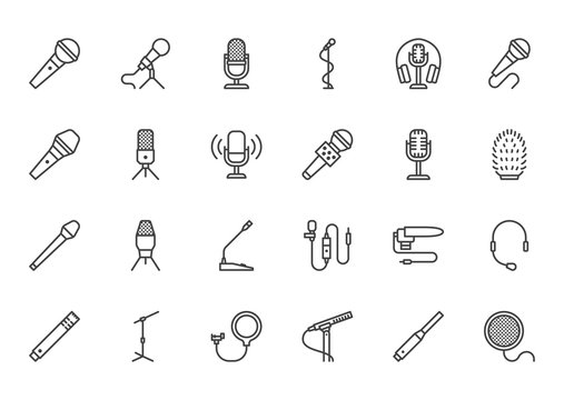 Mic flat line icons set. Podcast mike, journalist microphone, karaoke, conference, windscreen, retro radio vector illustration. Outline pictogram for music store. Pixel perfect 64x64. Editable Stroke