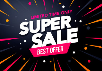 Vector Illustration Promotion Big Super Sale Banner. Discount Design For Newsletter, Poster And Web.