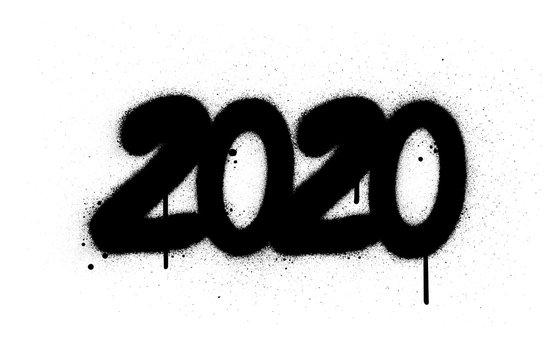 graffiti 2020 date number sprayed in black over white