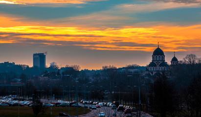 Vilnius skyline at sunset