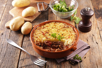 Wall Mural - shepherd's pie- baked mashed potato with minced beef