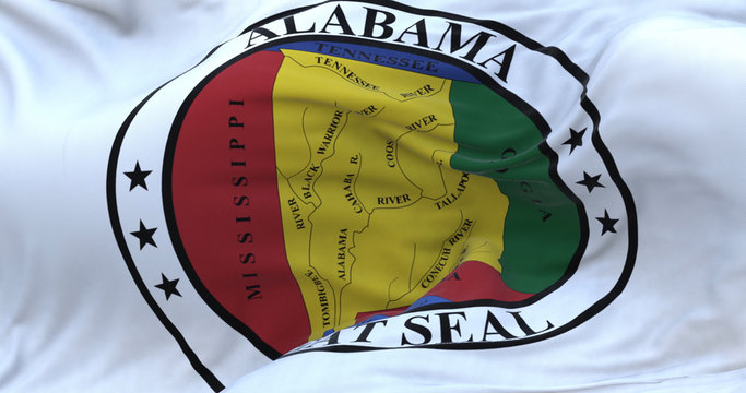Waving beautiful Alabama state seal flag.