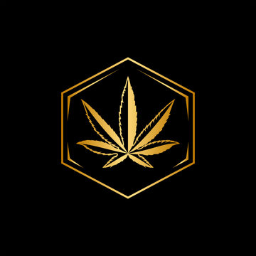 Gold cannabis luxury logo design with a hexagon shape
