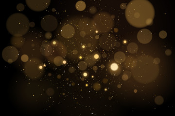 Wall Mural - Abstract glares bokeh effect with glitters on a black background. Christmas lights. Vector illustration