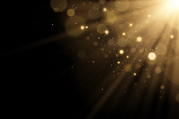 Wall Mural - Golden flash of light with glares bokeh with glitters on a black background. Rays of light. Vector illustration