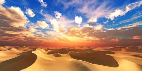 Sand desert at sunset, desert sunset, sand under the setting sun, sun and clouds over the desert, 3D rendering Wall mural