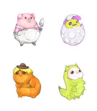 Watercolor and pencil illustration set of four funny fantasy creatures, pig, caterpillar and bird isolated on white