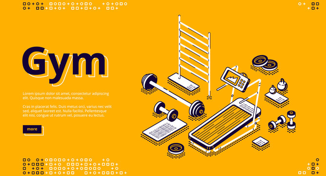 Gym isometric landing page, fitness equipment and stuff treadmill, barbell and dumbbells, empty room for workout training on yellow background, 3d vector illustration in line art style, web banner