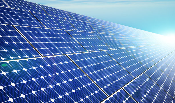 Solar Panels - Background - 3D Rendering